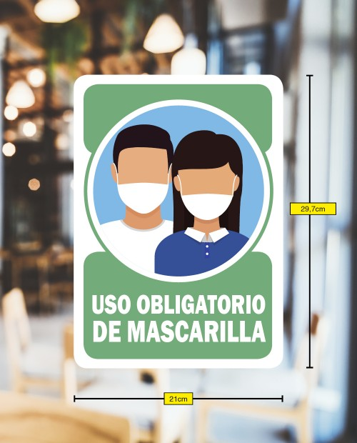 4 VINILOS USO OBLIGATORIO DE MASCARILLA