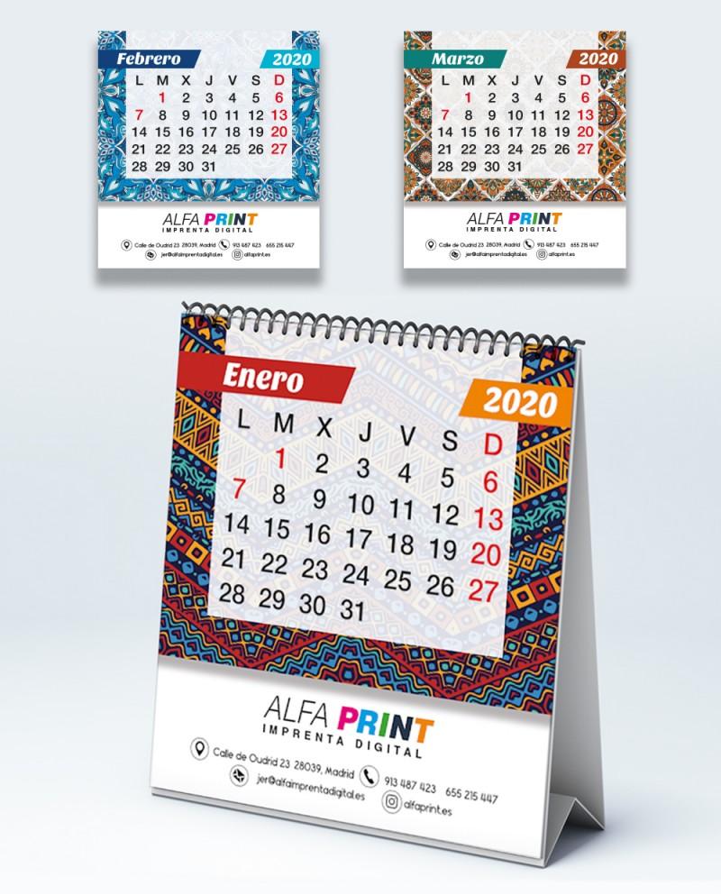Calendario de mesa espiral
