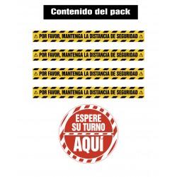 Pack 4 VINILOS DISTANCIA DE SEGURIDAD - ESPERA SU TURNO | VINILO ADHESIVO