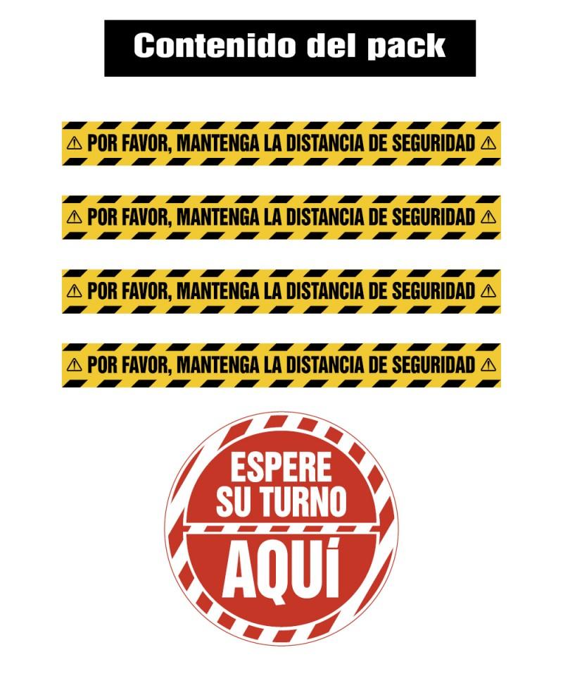 VINILOS DISTANCIA DE SEGURIDAD - ESPERA SU TURNO